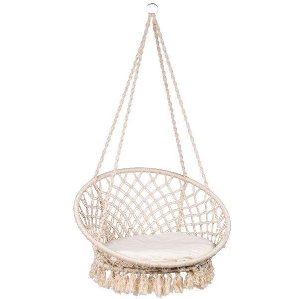 Macramé White Single Hanging Chair