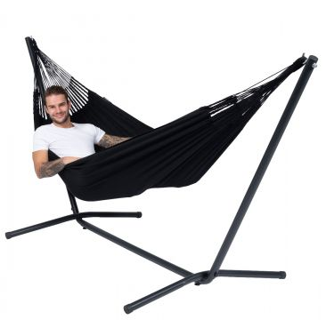 Easy & Classic Black Single Hammock with Stand