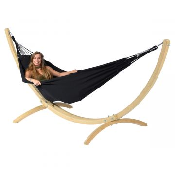 Wood & Classic Black Single Hammock with Stand