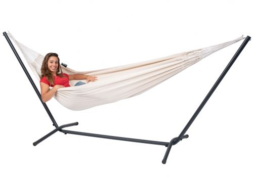 Easy & Classic White Single Hammock with Stand