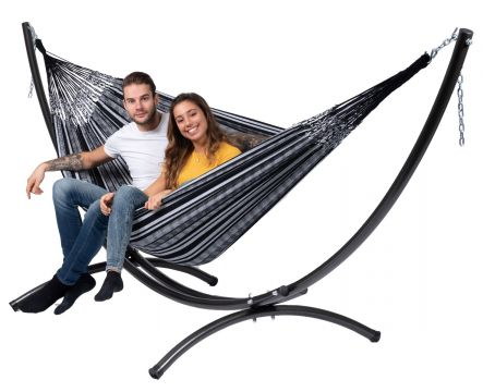 Arc & Comfort Black White Double Hammock with Stand