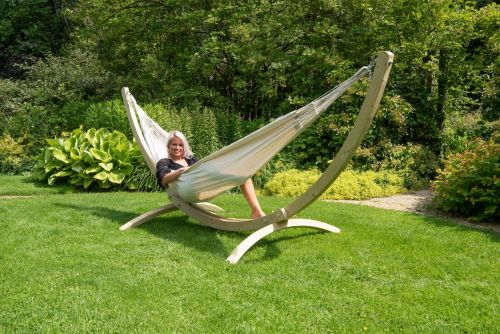 Wood & Comfort White Double Hammock with Stand