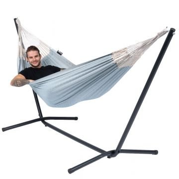 Easy & Natural Blue Single Hammock with Stand