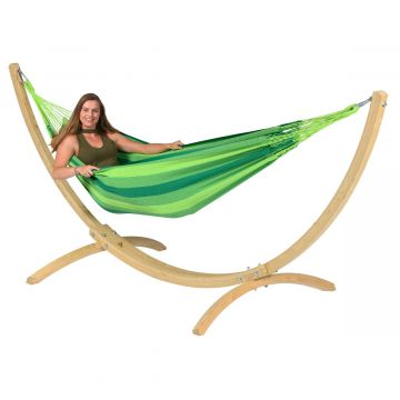 Wood & Dream Green Single Hammock with Stand