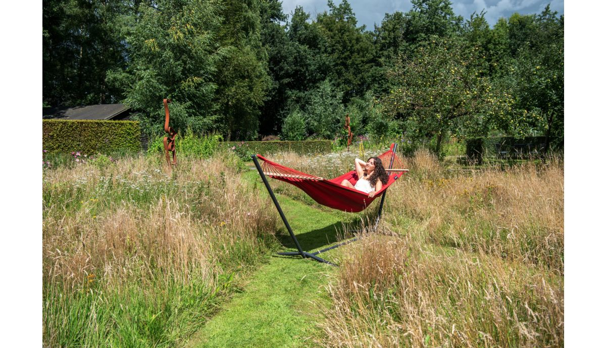 'Easy & Relax' Red Single Hammock with Stand