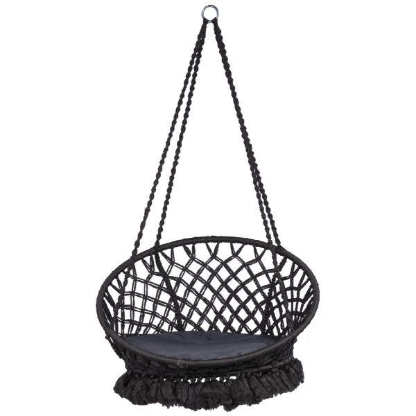 'Macramé' Black Single Hanging Chair